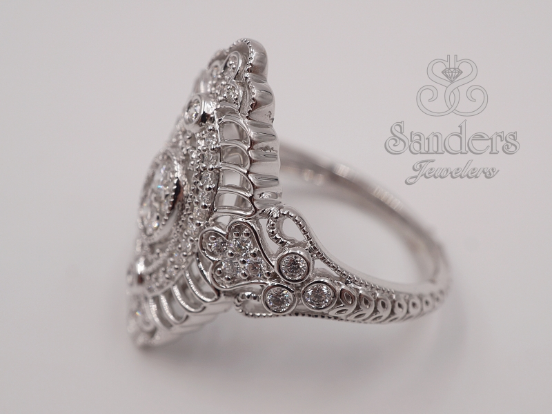 Rings - White Gold Cocktail Ring - image #2