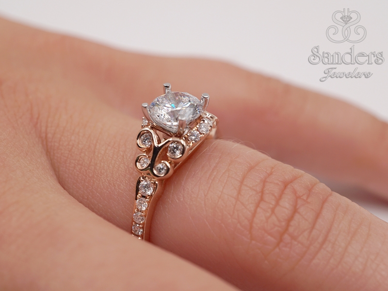 Bridal Jewelry - Diamond Accented Engagement Ring - image #4