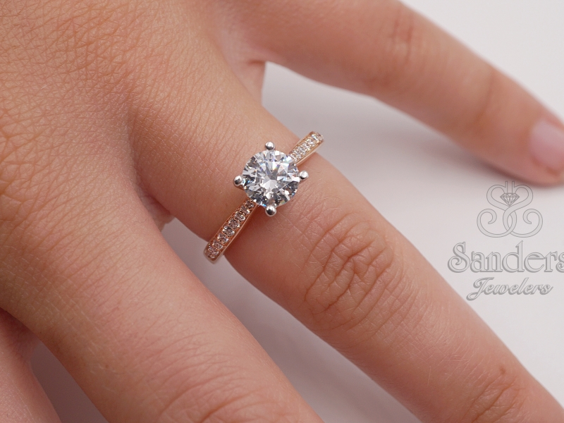 Bridal Jewelry - Diamond Accented Engagement Ring - image #3