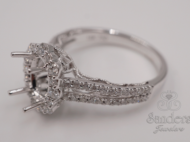 Bridal Jewelry - Oval Halo Diamond Engagement Ring - image #2