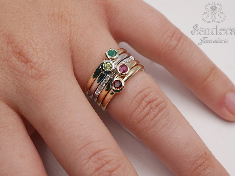 Rings - Emerald Stacker Ring - image #3
