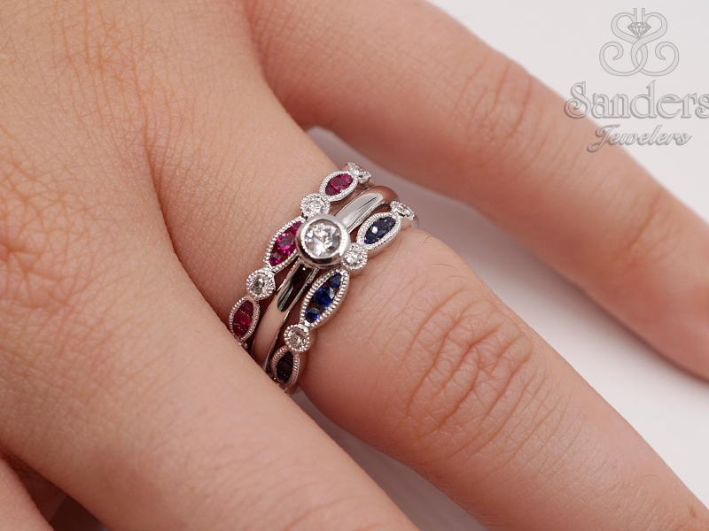 Rings - Ruby and Diamond Stacker Band - image #3