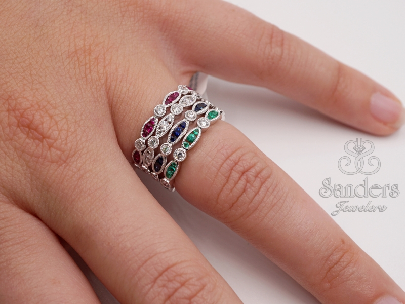 Rings - Ruby and Diamond Stacker Band - image #4