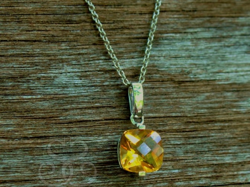 Rings - Antique Square Topaz Pendant - image 2