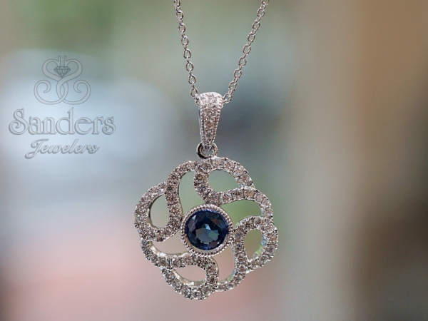 Pendants & Necklaces - Blue Sapphire and Diamond Pendant