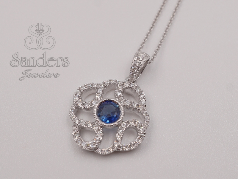 Pendants & Necklaces - Blue Sapphire and Diamond Pendant - image 2