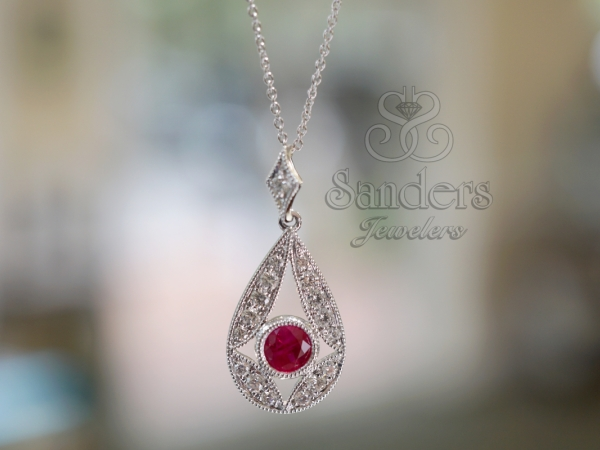 Pendants & Necklaces - Ruby and Diamond Pendant