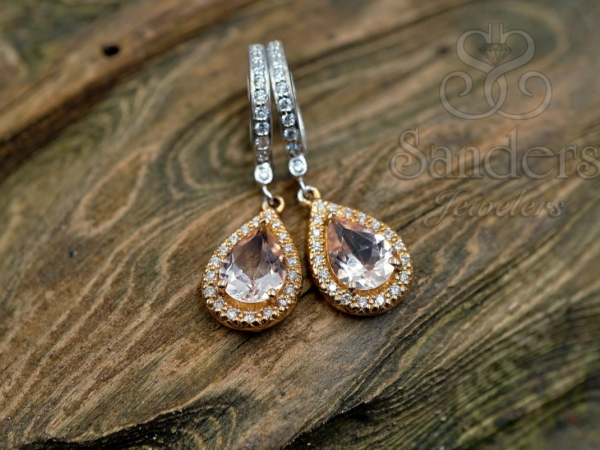 Earrings - Morganite and Diamond Earrings