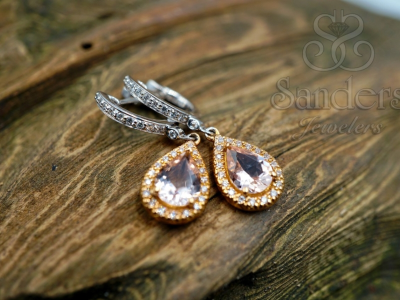 Earrings - Morganite and Diamond Earrings - image #2