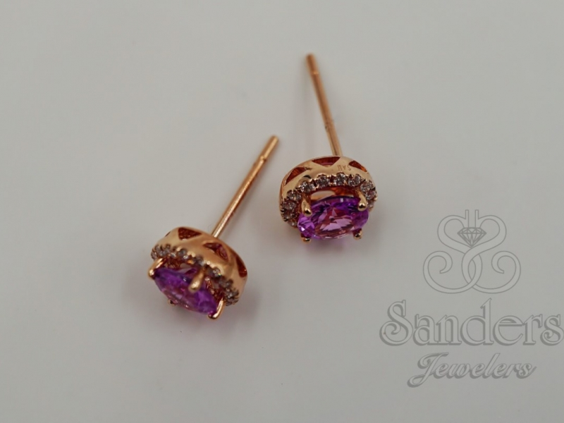 Earrings - Pink Sapphire and Diamond Earrings - image #3
