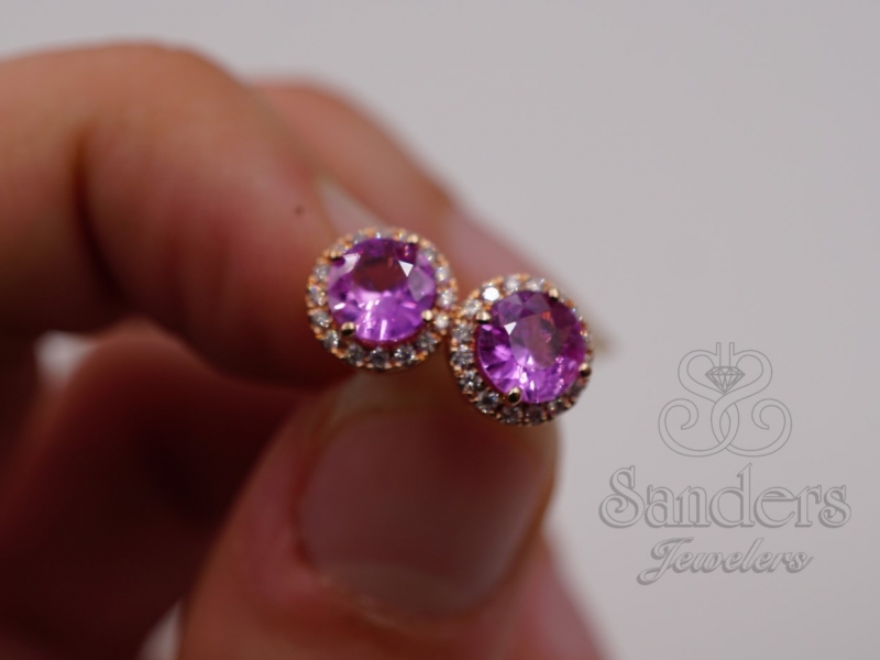 Earrings - Pink Sapphire and Diamond Earrings - image #2