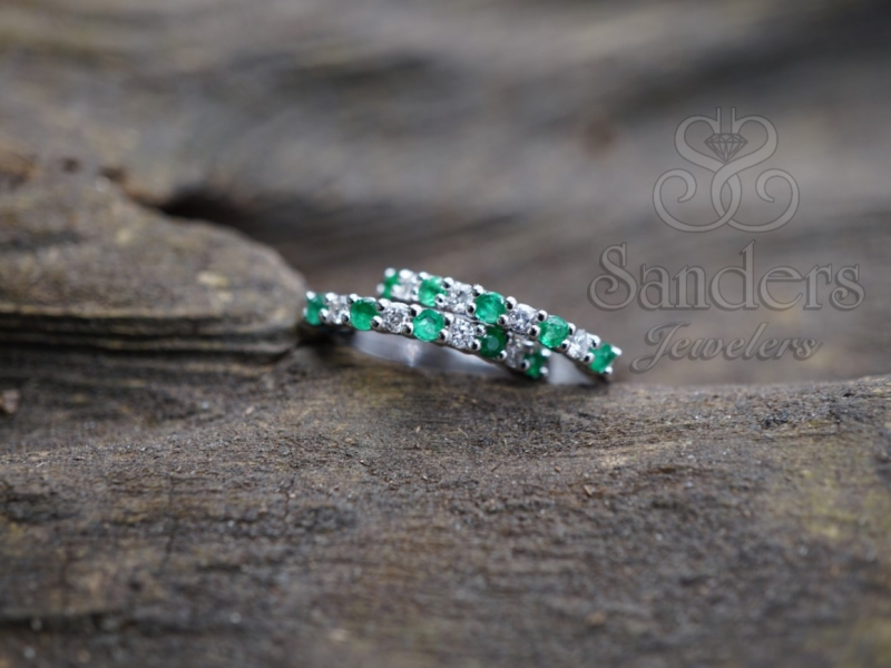 Earrings - Emerald and Diamond Earrings - image #2