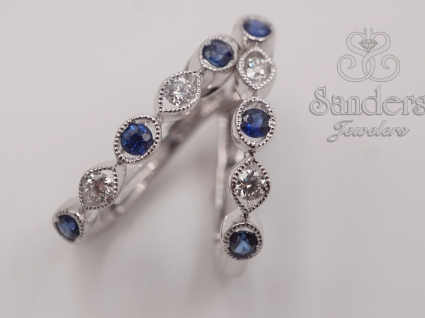 Earrings - Sapphire and Diamond Huggie Earrings