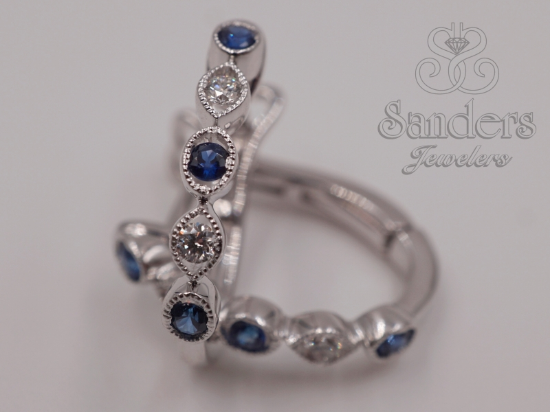 Earrings - Sapphire and Diamond Huggie Earrings - image #2