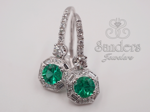Earrings - Emerald and Diamond Earrings