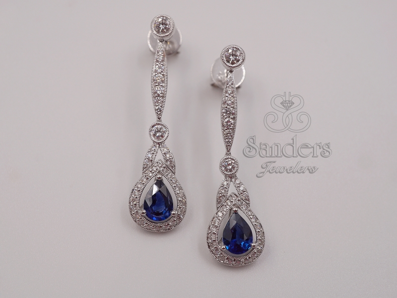 Earrings - Sapphire and Diamond Long Drop Earrings - image #2