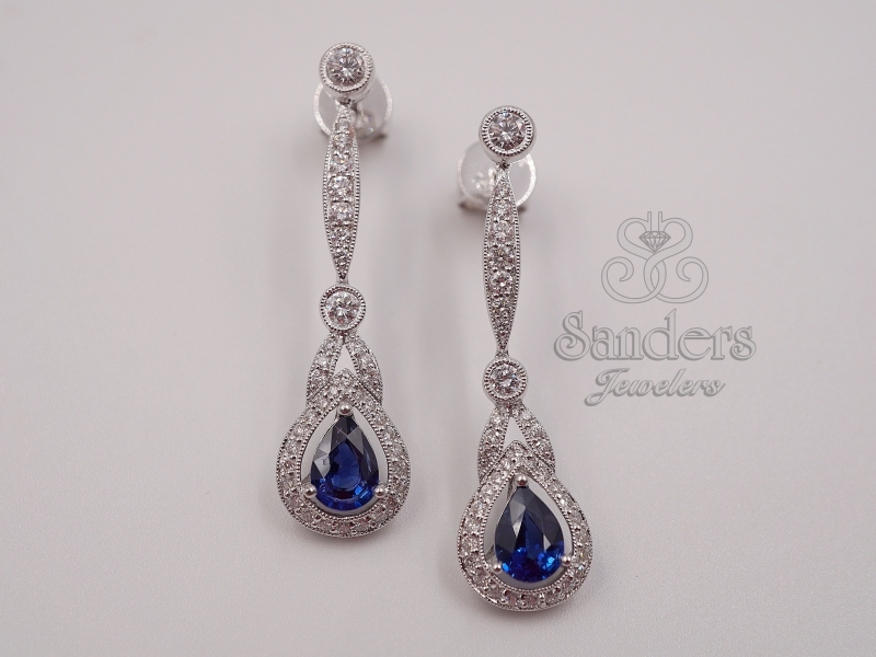 Earrings - Sapphire and Diamond Long Drop Earrings