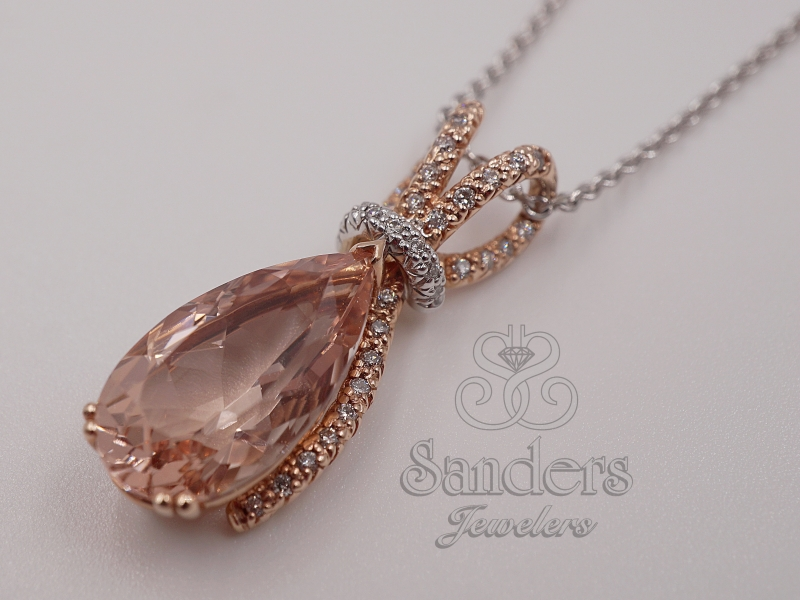 Pendants & Necklaces - Morganite and Diamond Pendant - image 2