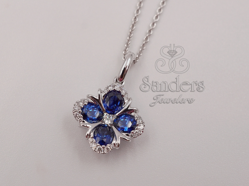 Pendants & Necklaces - Sapphire and Diamond Pendant - image #2