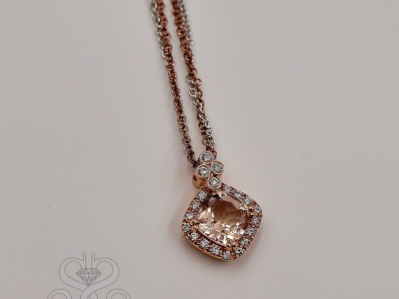 Pendants & Necklaces - East to West Morganite Pendant - image #3
