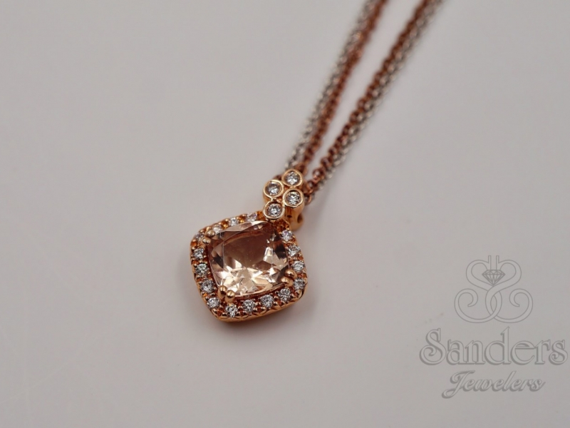 Pendants & Necklaces - East to West Morganite Pendant - image #2