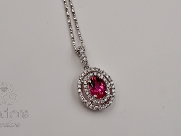 Pendants & Necklaces - Pink Tourmaline Double Halo Pendant