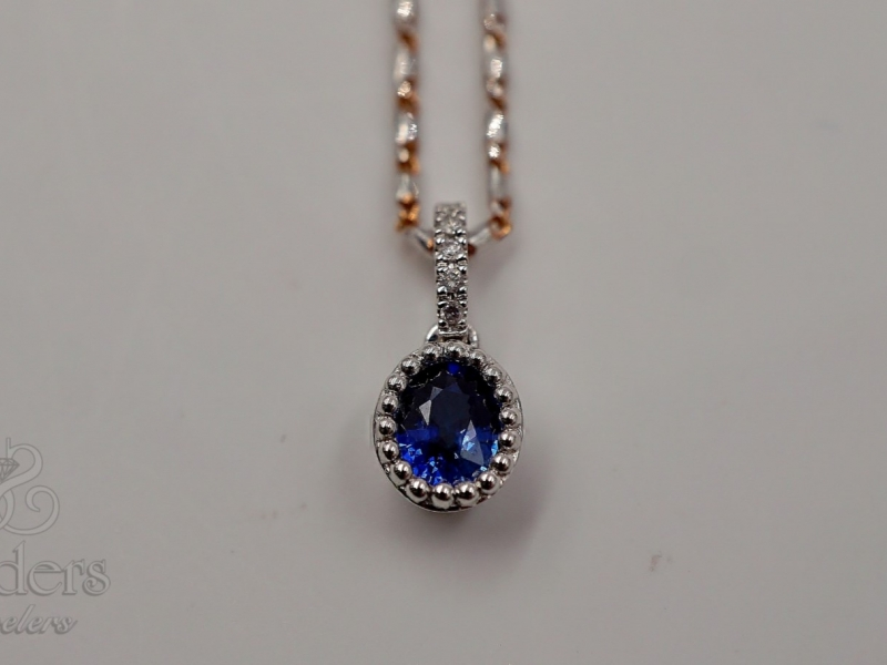 Pendants & Necklaces - Antique Inspired Sapphire Pendant - image 2