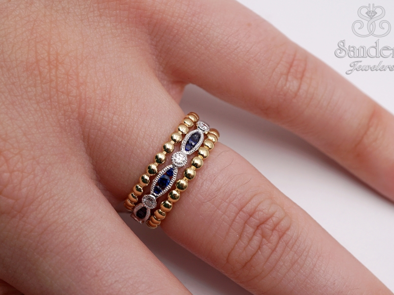 Rings - Beaded Gold Band - image #3