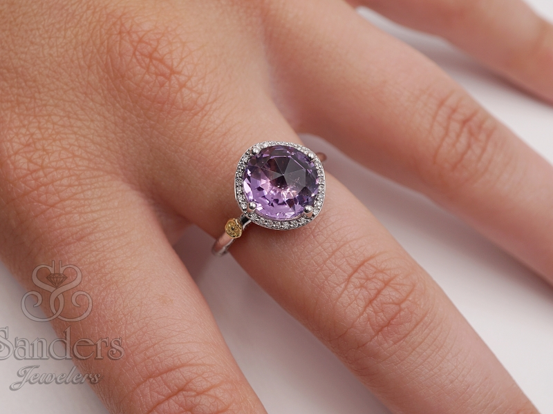 Rings - Amethyst and Diamond Ring - image #3