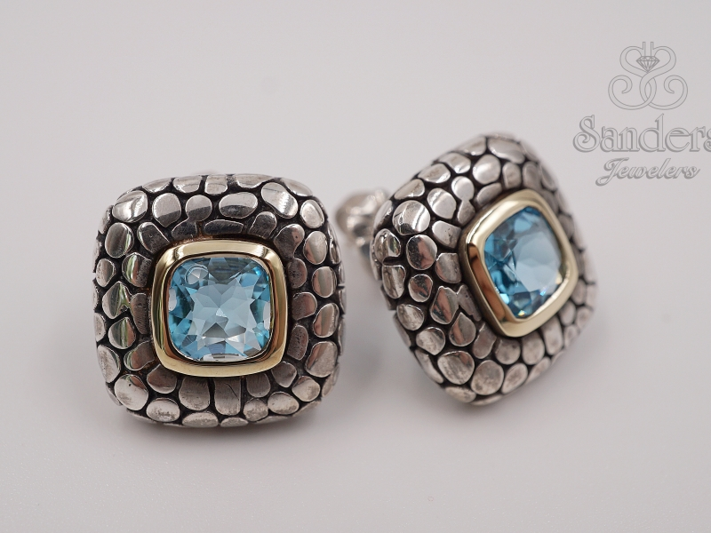 Earrings - Two-Tone Blue Topaz Earrings - image #2