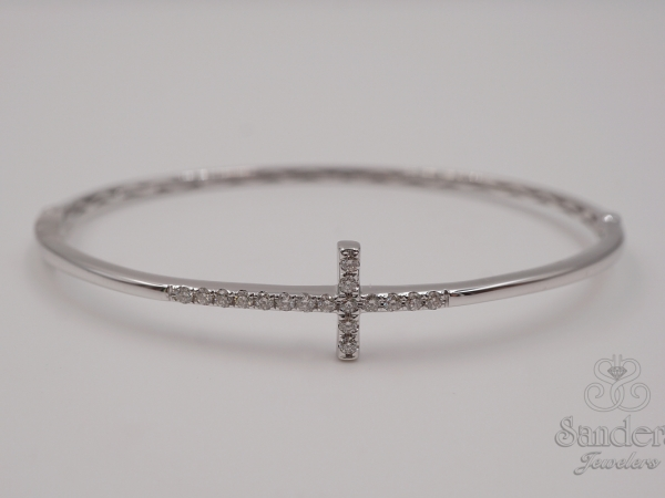 Bracelets - Cross Diamond Bangle