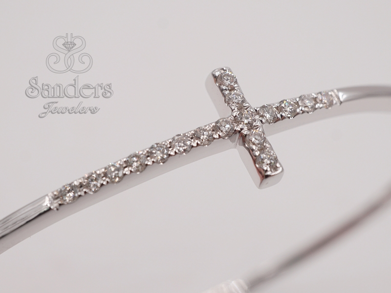 Bracelets - Cross Diamond Bangle - image #2