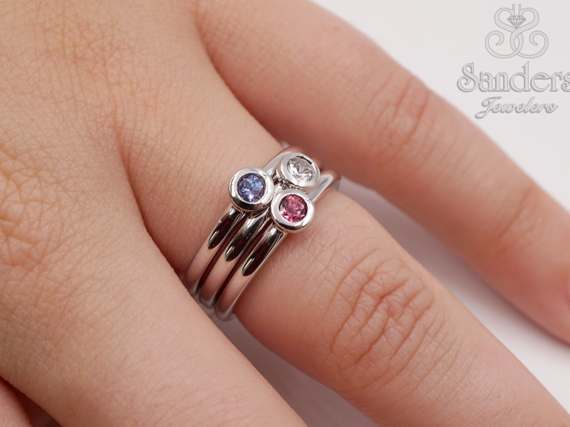 Rings - Created Alexandrite Stacker Ring - image 3