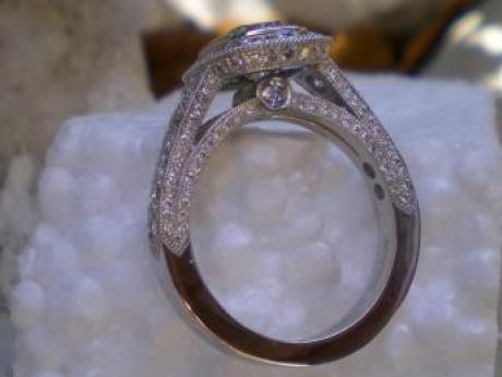 Sanders Jewelers Custom Designs - Diamond Ring with Hand Engraving - image #5