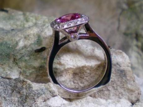 Sanders Jewelers Custom Designs - Pink Sapphire and Diamond Ring in Platinum - image #2