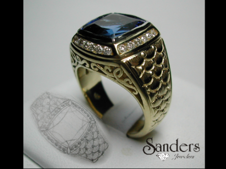 Sanders Jewelers Custom Designs - Men's Sapphire and Diamond Ring - image #2