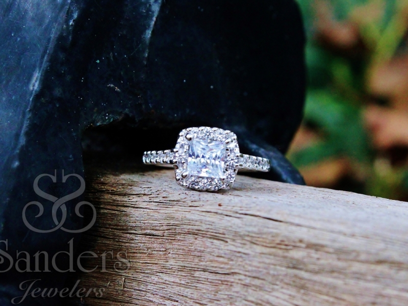Bridal Jewelry - Princess Cut Diamond Halo Setting