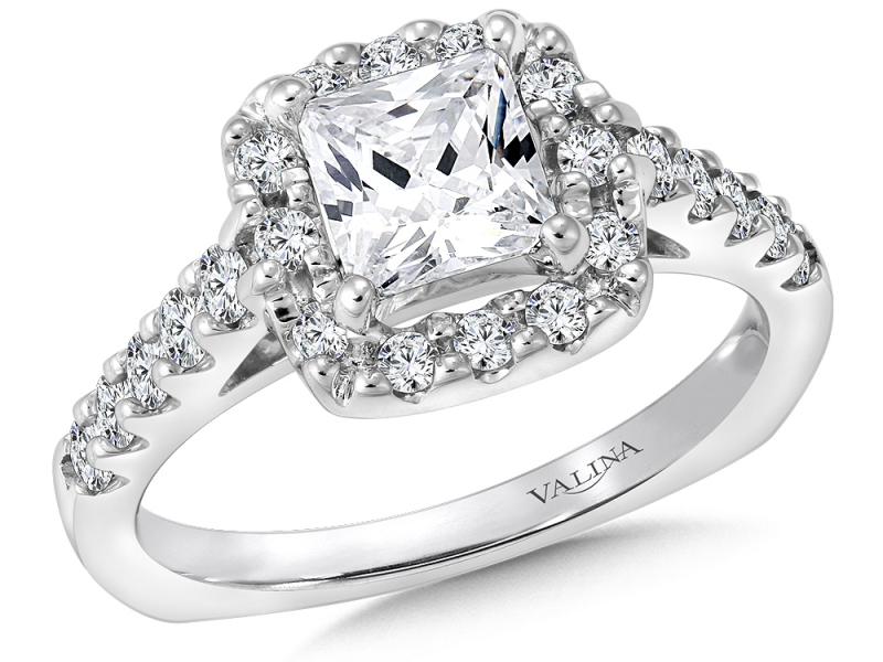 Bridal Jewelry - Princess Cut Diamond Halo Setting - image 3