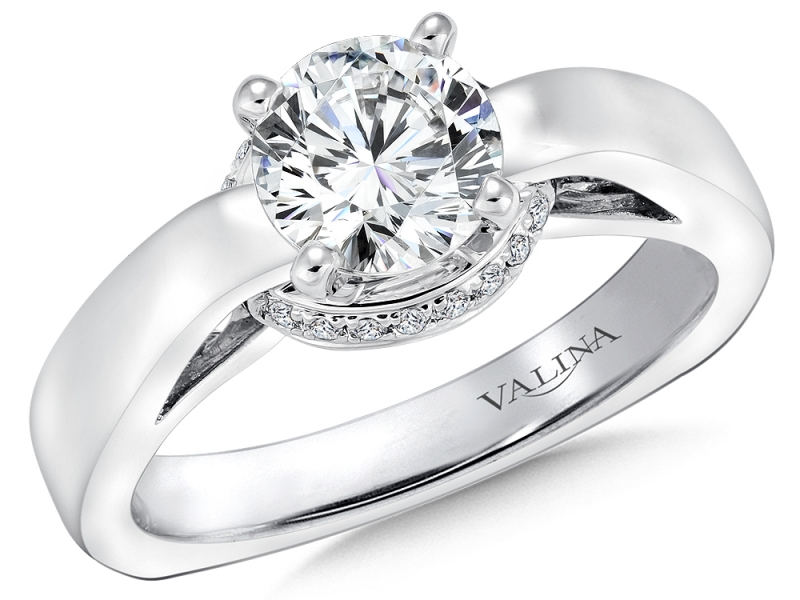 Engagement Rings - Solitaire with Gallery Halo - image #3