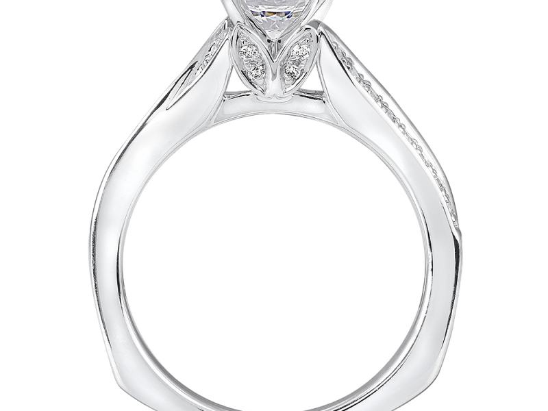 Bridal Jewelry - Blooming Diamond Accented Engagement Ring - image #2