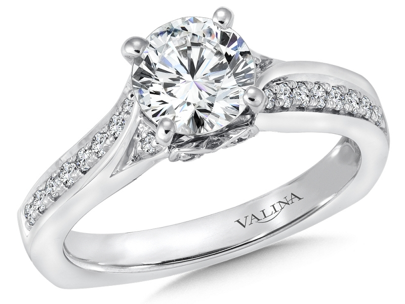 Bridal Jewelry - Blooming Diamond Accented Engagement Ring - image #3