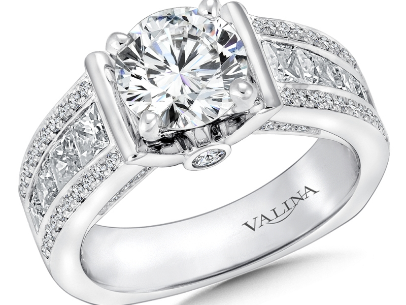 Bridal Jewelry - 3 Row Diamond Engagement Ring - image #3