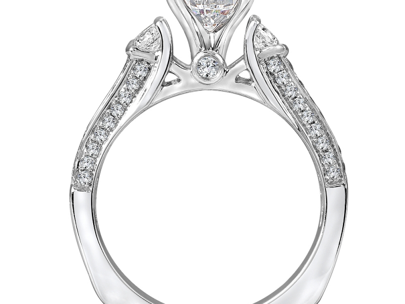 Bridal Jewelry - Fancy Engagement Ring w/ Rows of Diamonds - image #2