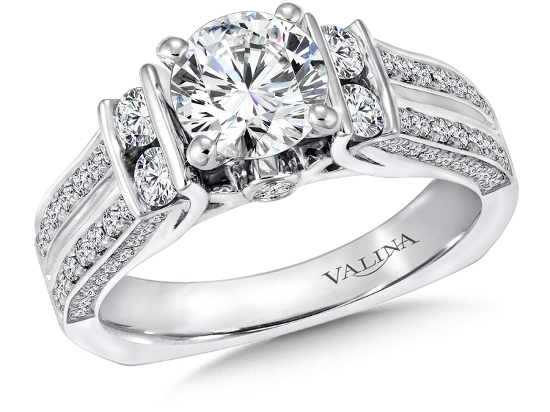Bridal Jewelry - Fancy Engagement Ring w/ Rows of Diamonds - image #3