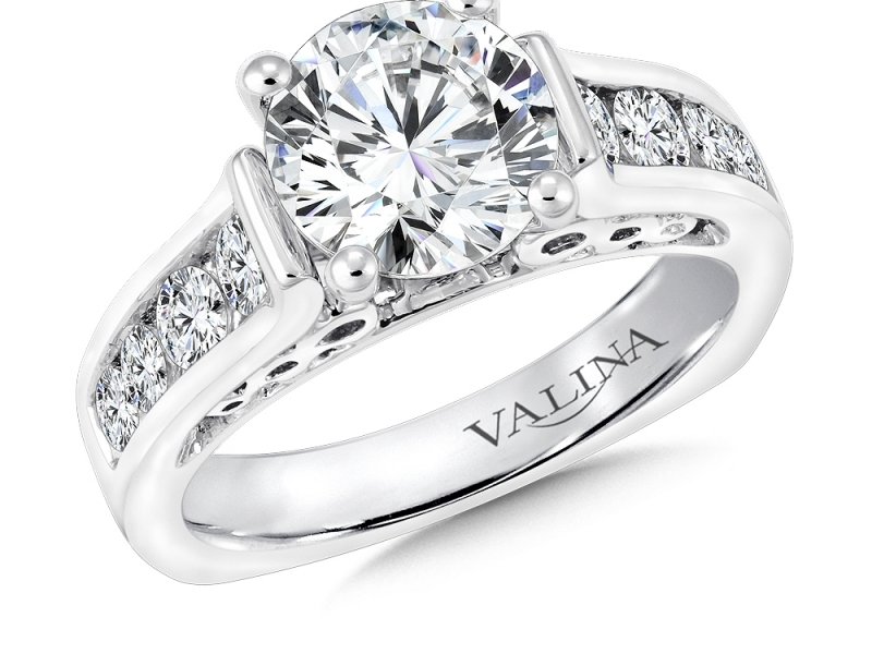 Bridal Jewelry - Channel Set Diamond Infinity Profile Engagement Ring - image #3