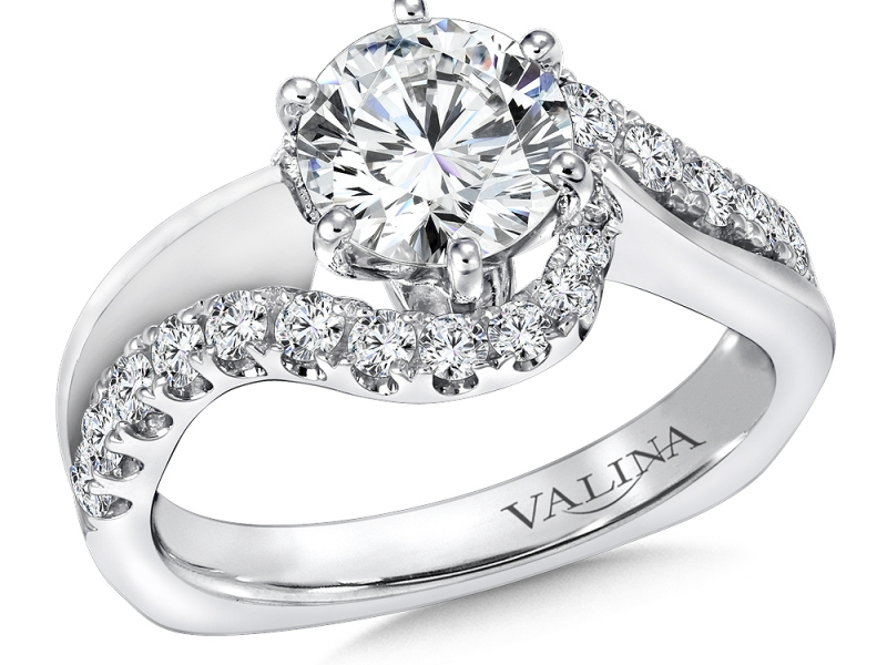 Bridal Jewelry - Curved Diamond Engagement Ring - image #3