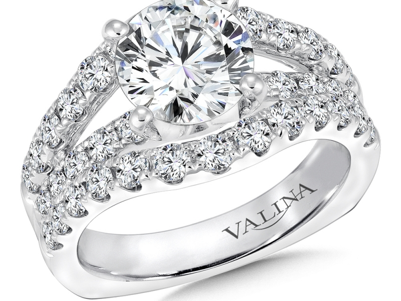 Bridal Jewelry - 3 Row Diamond Engagement Ring - image 3