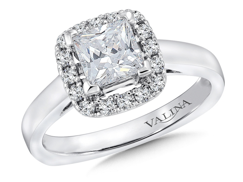 Bridal Jewelry - Princess Cut with Cushion Halo Engagement Ring - image 2