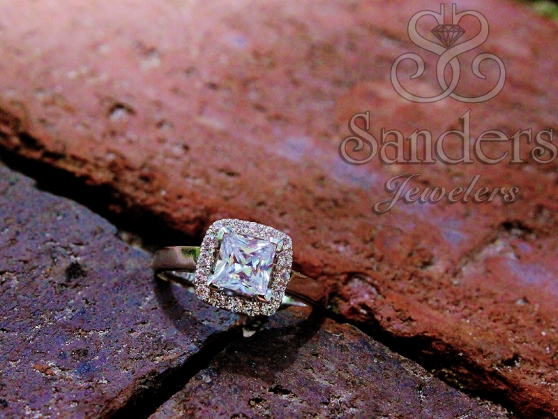 Bridal Jewelry - Princess Cut with Cushion Halo Engagement Ring