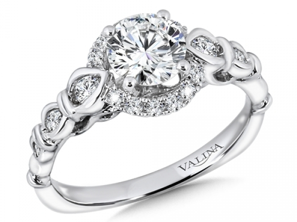 Bridal Jewelry - Vintage Designed Halo Engagement Ring